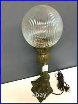 Vintage Spelter Circus Girl With Ball Glass Globe Desk Table Lamp Light
