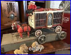 Vintage Toy Circus Wagon Antique Hand Made Painted Carved With Pulley Mechanism