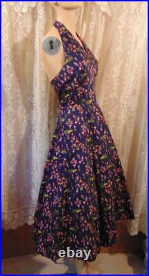 Vtg 50s Cotton Carnaval Circus Novelty Print Halter Dress 30w