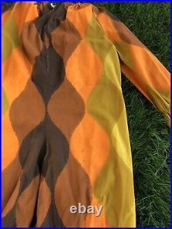 Vtg 60s 70s Handmade CLOWN SUIT Costume Circus Adult XL XXL Ruffles Zipper