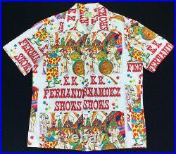 Vtg 70S HAWAIIAN CIRCUS EK FERNANDEZ NOVELTY PRINT BARKCLOTH ALOHA TIKI SHIRT L