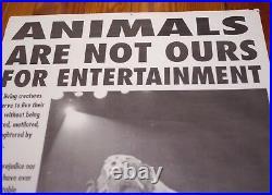 Vtg Animal Rights Activist PETA Not Entertainment Circus Elephants Vegan POSTER