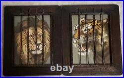 Vtg Antique Oak Frame 1903 Lithograph Lion Tiger Print Metal Cage Circus