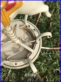 Vtg MID Century Italian Metal Tole Chandelier Carousel Horse Circus
