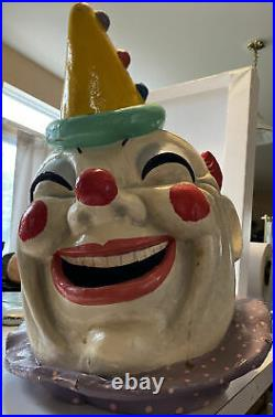 Vtg Rare Barnums Carnival Novelties Antique Paper Mache Mask Head Clown Circus