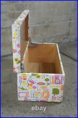 Vtg Vinyl Circus Print Steamer Trunk Toy Chest Blanket Trunk Coffee Table Locker