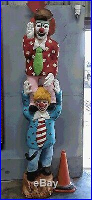 Wooden Clown Ringling Brothers Hand Carved Wood Statue Life Size 10 Ft Vintage